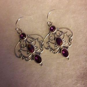 NWOT❤Sterling Silver Amethyst Earrings